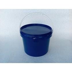 Sinine plastikämber sangaga kaanega 10 L (plommiga)